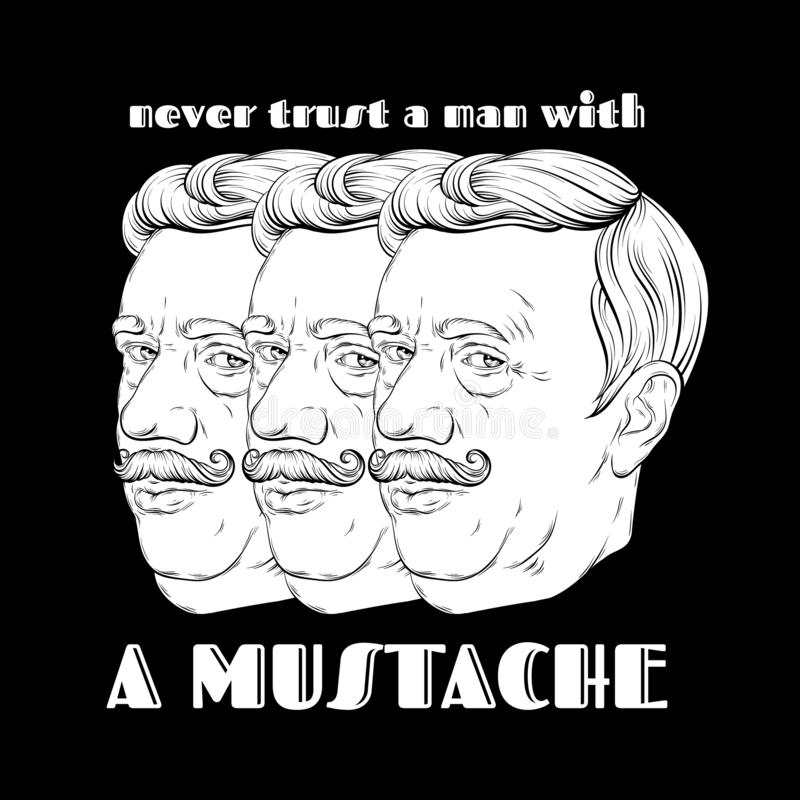 Nunca confie um homem com um bigode Ilustra??o tirada m?o do vetor do anci?o com o bigode isolado ilustração stock
