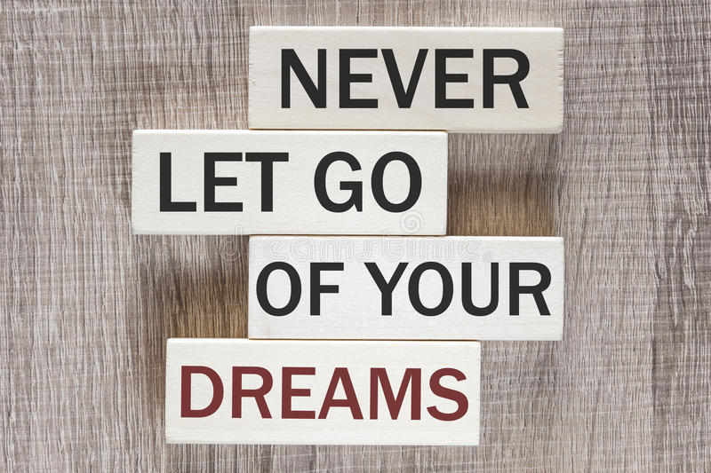 Nunca deixe vão de sua mensagem inspirador dos sonhos imagem de stock