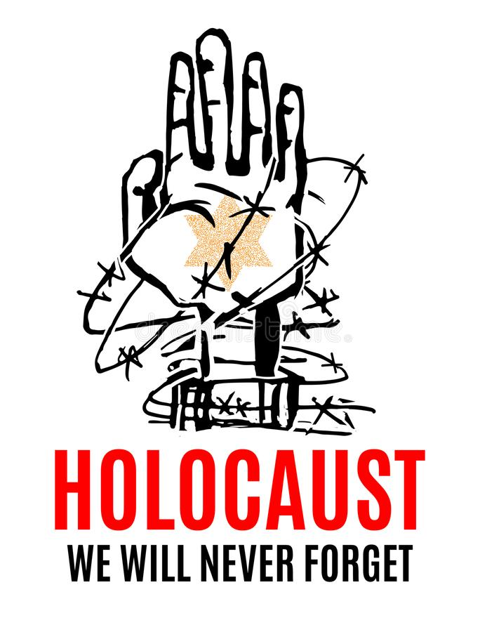 Nunca olvidaremos Día de la conmemoración del holocausto Estrella amarilla David stock de ilustración