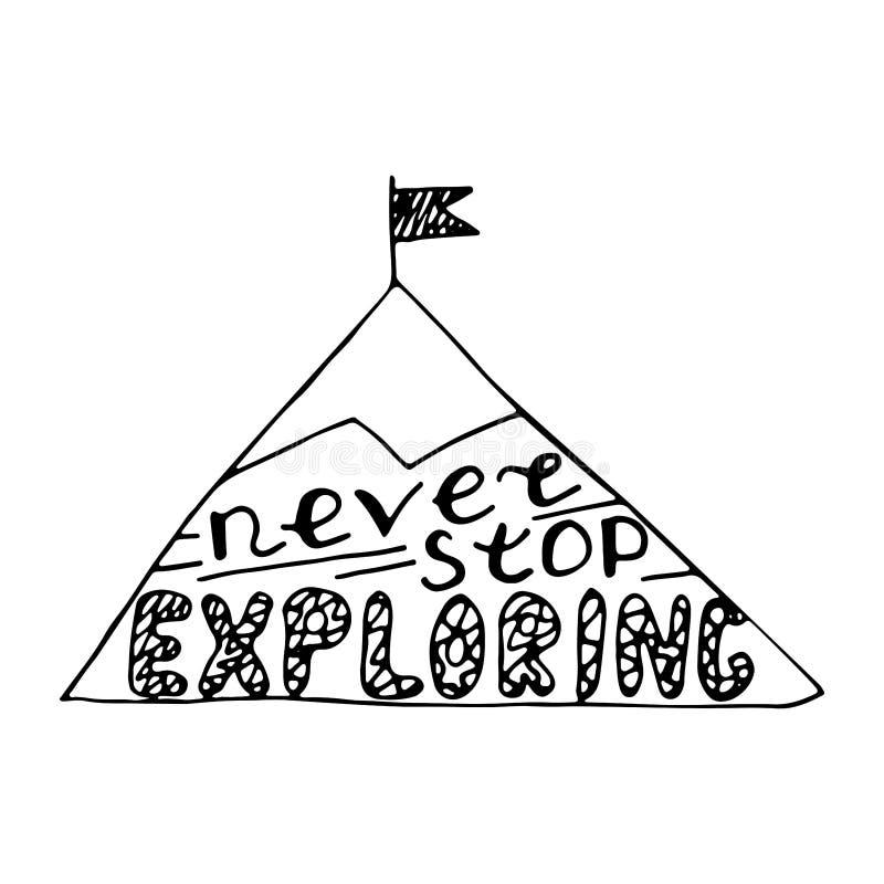Nunca pare el explorar Diseño de letras del cuarto de niños stock de ilustración
