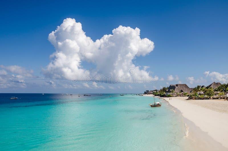 Nungwi plaża na Zanzibar obrazy royalty free