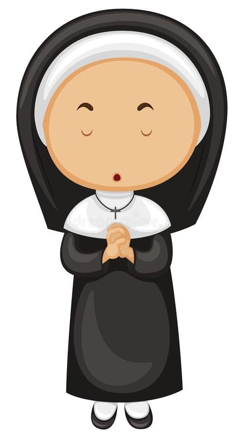 Download Nunna i svart dräkt vektor illustrationer. Illustration av prioress - 78730811