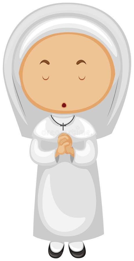 Download Nunna i vitt be för dräkt vektor illustrationer. Illustration av isolerat - 78730313