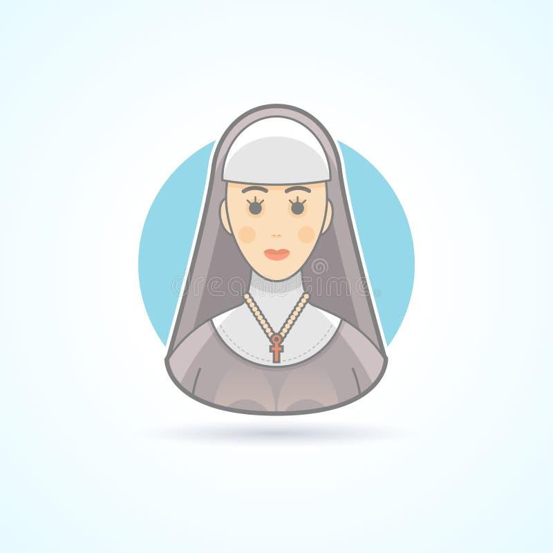 Nunna syster, cloitresssymbol Avatar- och personillustration vektor illustrationer