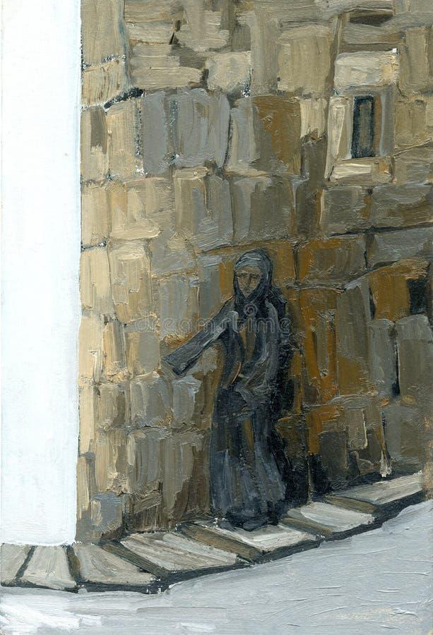 Nunnan står på tegelstenväggen royaltyfri foto