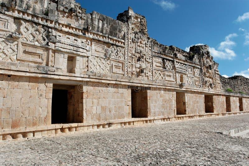 Nunnery Quadrangle Uxmal. Myan carvins in Nunnery Quadrangle, Uxmal, Mexico stock images