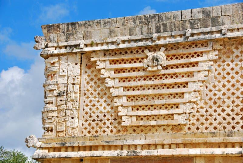 Nunnery Quadrangle in Uxmal. Details of the Nunnery Quadrangle, Uxmal, Yucatan royalty free stock photo