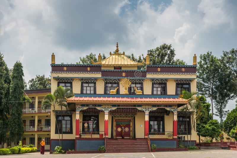 Nunnery reception hall at Namdroling Buddhist Monastery, Coorg I royalty free stock photo
