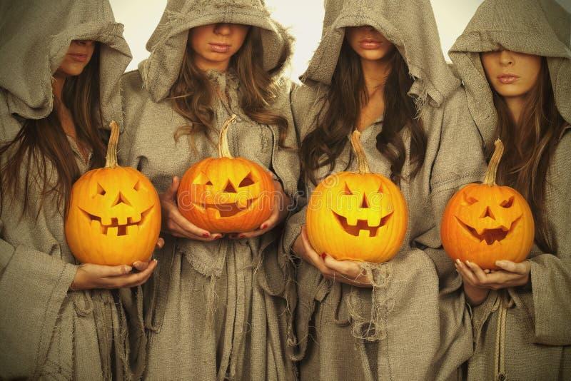 Download Nuns With Halloween Pumpkins Stock Image - Image: 16523123