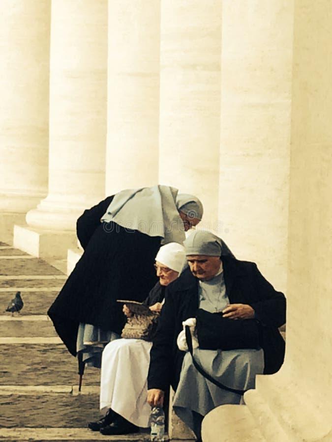 Nuns at St. Peter`s Basilica Rome Vatican City Italy stock photos