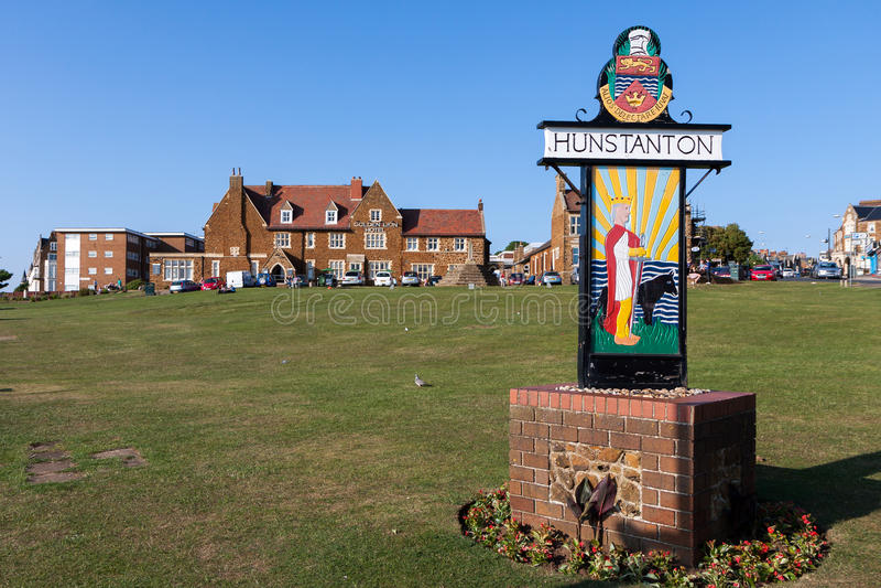 NUNSTANTON, NORFOLK/UK - JUNE 2 : Sign for Hunstanton on the green by the sea in Hunstanton Norfolk on June 2, 2010. Unidentified stock photo