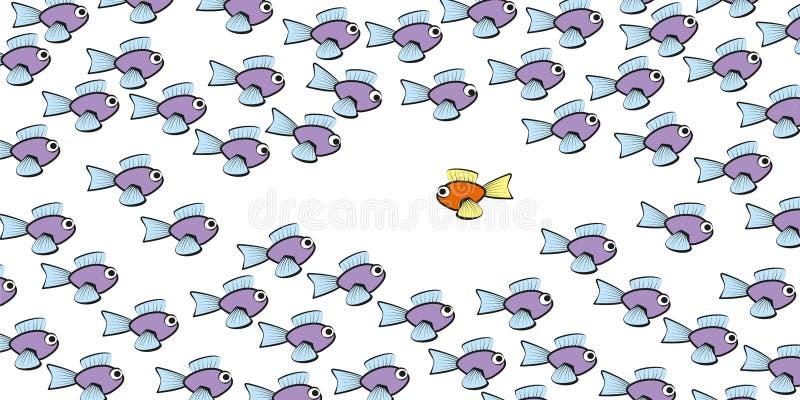 Nuotata contro il pesce di marea comico illustrazione vettoriale
