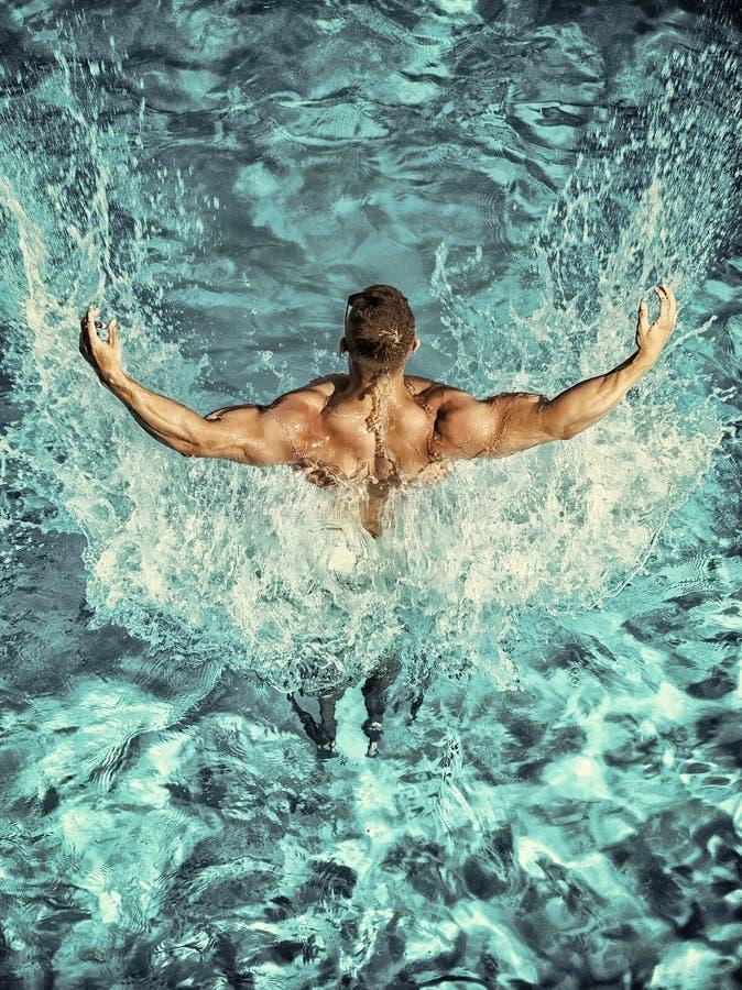 Nuotata dell'uomo del nuotatore nello stagno di acqua blu immagine stock