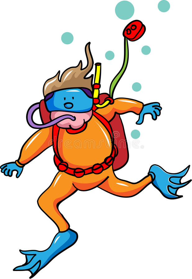 Nuotatore subacqueo illustrazione di stock