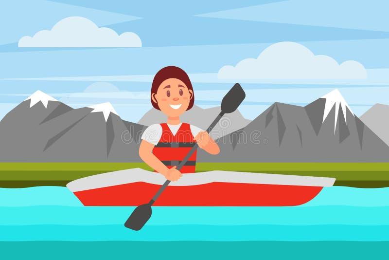 Nuoto allegro della donna dal fiume sul kajak rosso Paesaggio naturale con le montagne Ricreazione attiva Progettazione piana di  illustrazione vettoriale