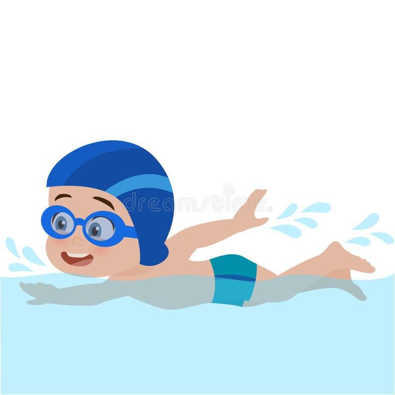 Nuoto del bambino nel raggruppamento illustrazione di stock