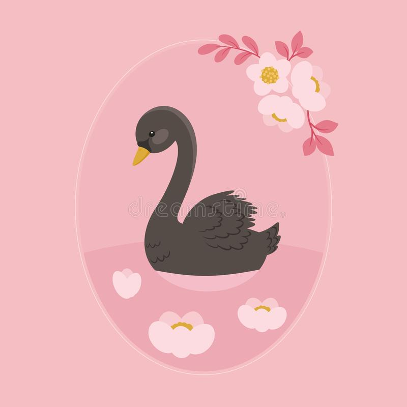 Nuoto del cigno nero nel lago floreale royalty illustrazione gratis