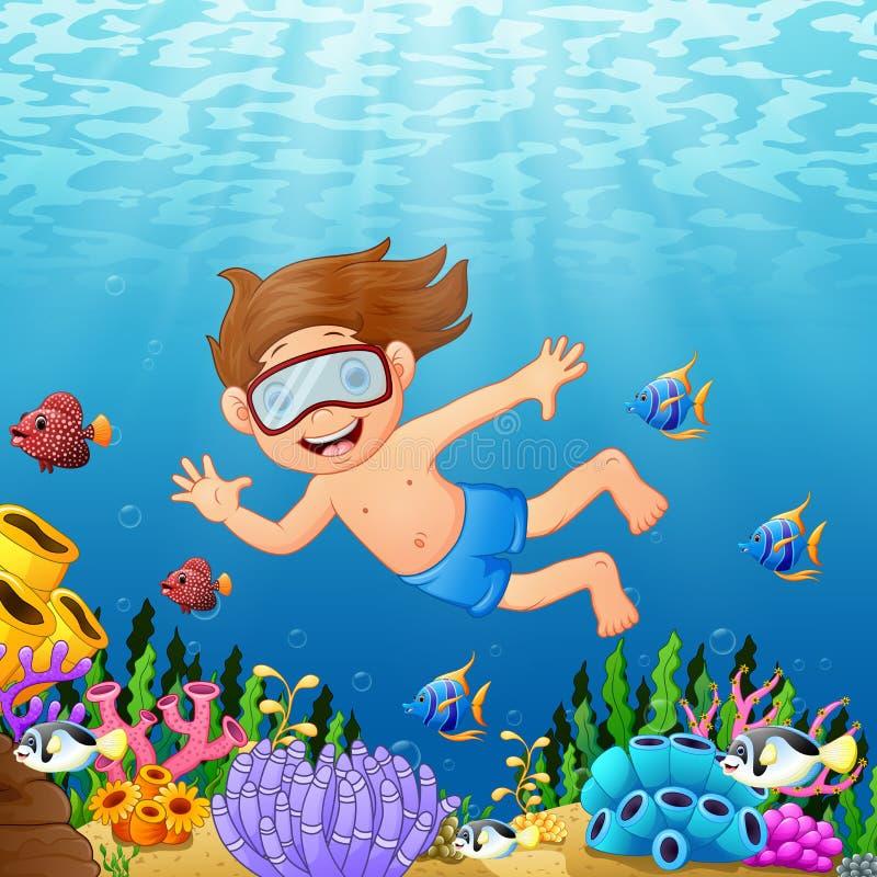Nuoto del ragazzo del fumetto nel mare con il pesce illustrazione di stock