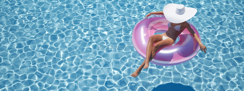 Nuoto della donna sul galleggiante in uno stagno rappresentazione 3d royalty illustrazione gratis