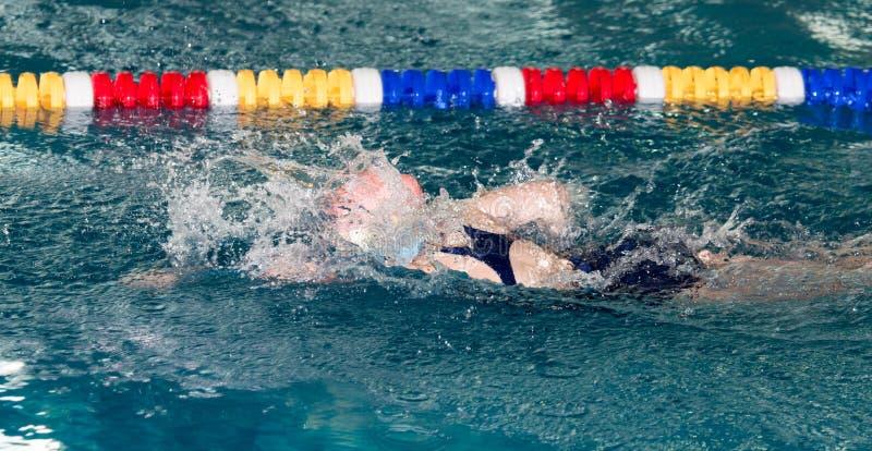Nuoto della ragazza nello stagno immagini stock