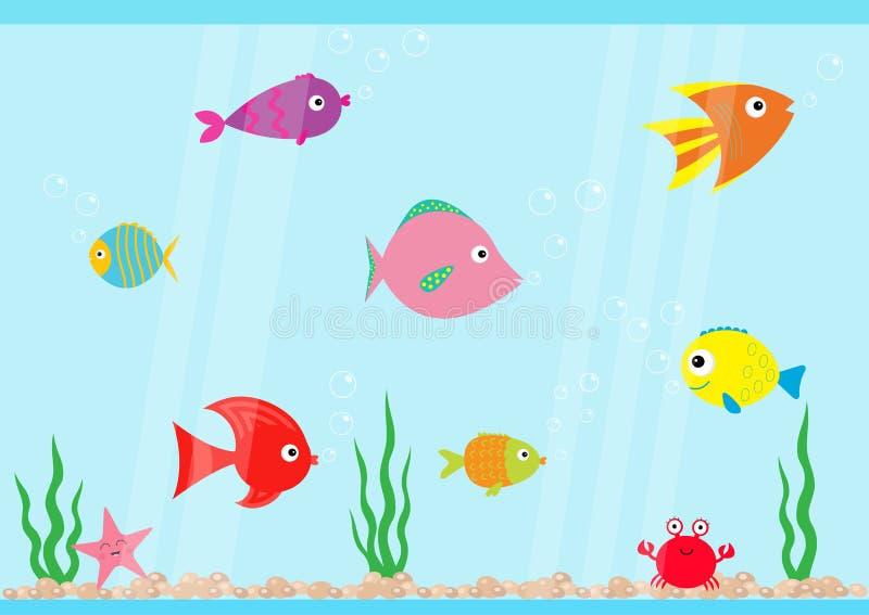 Nuoto stabilito del pesce all'acquario Stella, granchio, alga, pietre, bolle, onde di acqua illustrazione di stock