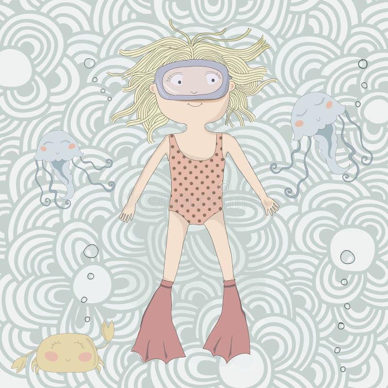 Nuoto sveglio della bambina con le meduse ed il granchio. illustrazione vettoriale