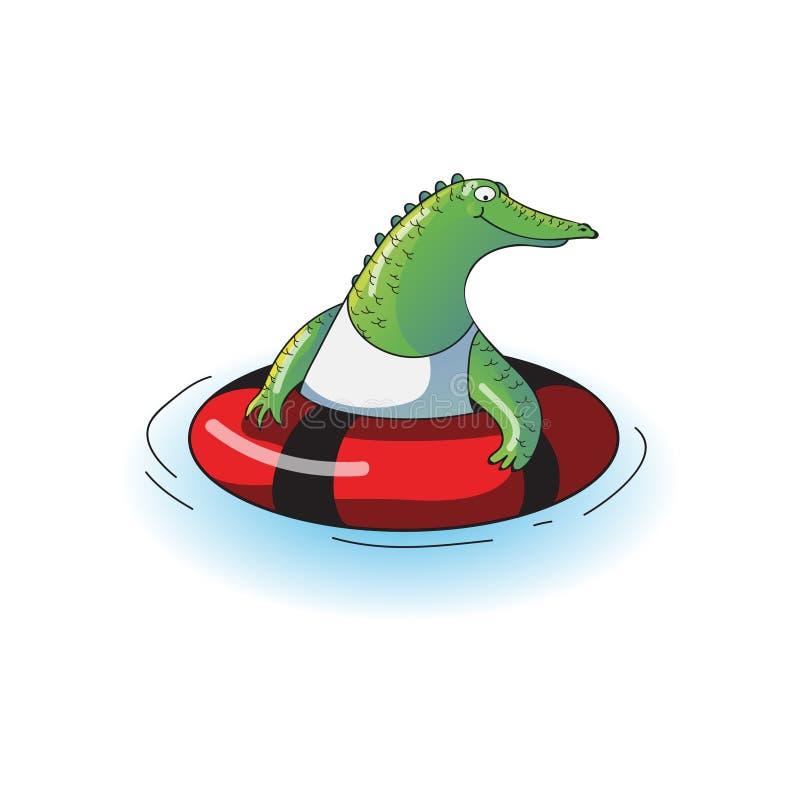 Nuoto verde grasso del coccodrillo con l'anello gonfiabile rosso Animale umanizzato divertente Progettazione di vettore del fumet illustrazione vettoriale