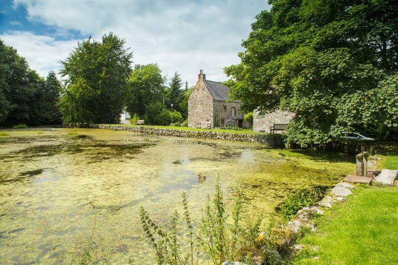 Nuova Abbey Mill Pond, Dumfriesshire, Scozia fotografia stock