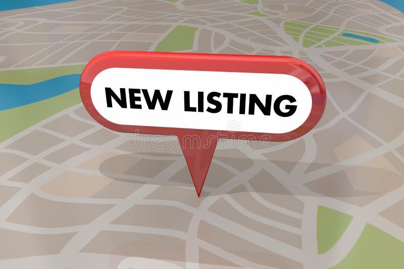 Nuova Camera della casa dell'elenco da vendere il Pin 3d Illustrat della mappa di Real Estate royalty illustrazione gratis