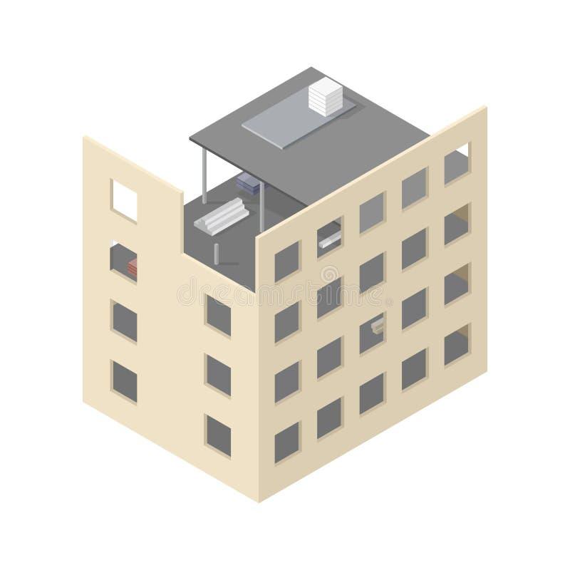 Nuova casa isometrica in costruzione illustrazione for Ispezione a casa su nuova costruzione