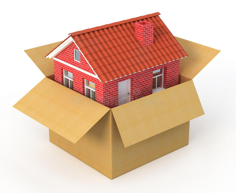 Nuova casa nella scatola di cartone royalty illustrazione gratis