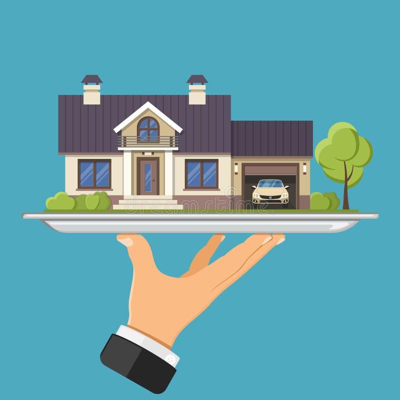 Nuova casa sul vassoio illustrazione vettoriale