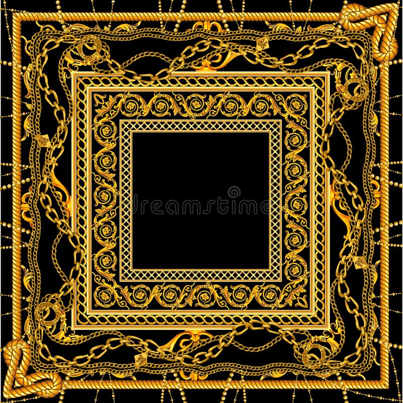 Nuova catena dorata barrocco nella progettazione bianca nera della sciarpa di colore illustrazione di stock