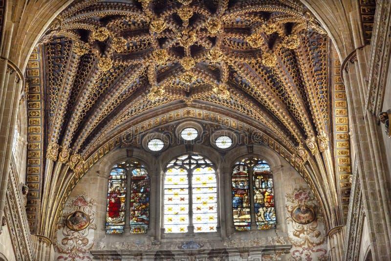 Nuova cattedrale Spagna di Salamanca dell'arco delle statue di pietra del vetro macchiato fotografia stock