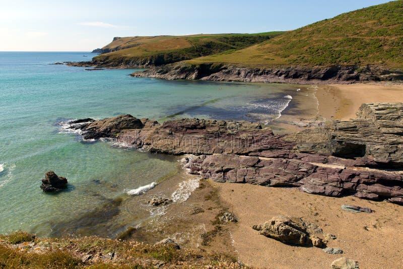 Nuova costa Inghilterra Regno Unito di Cornovaglia della spiaggia di Polzeath. immagini stock libere da diritti
