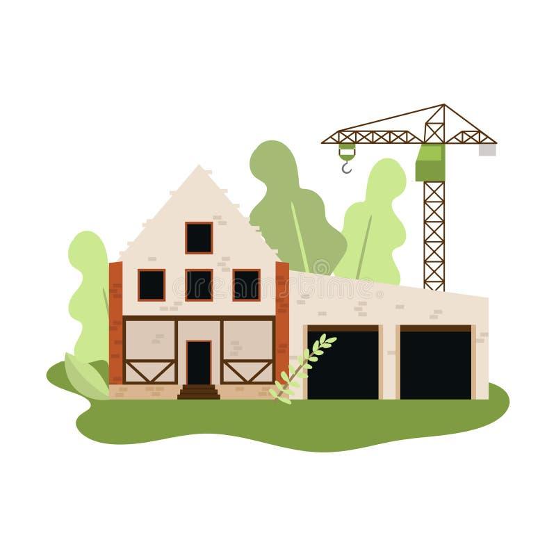Nuova costruzione della casa con le pietre o dei mattoni bianchi con la gru illustrazione di stock