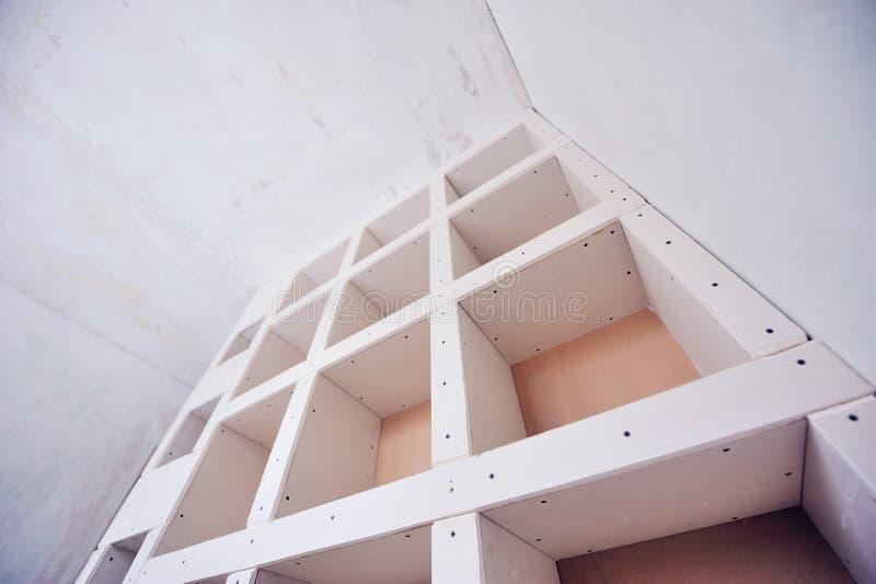 Nuova costruzione della stanza dell'interno del muro a secco fotografie stock libere da diritti