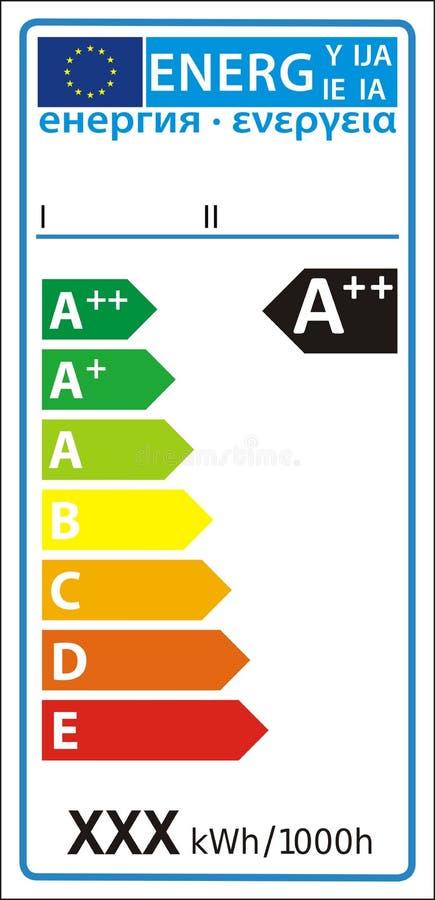 Nuova etichetta del grafico di valutazione di energia della lampada illustrazione vettoriale