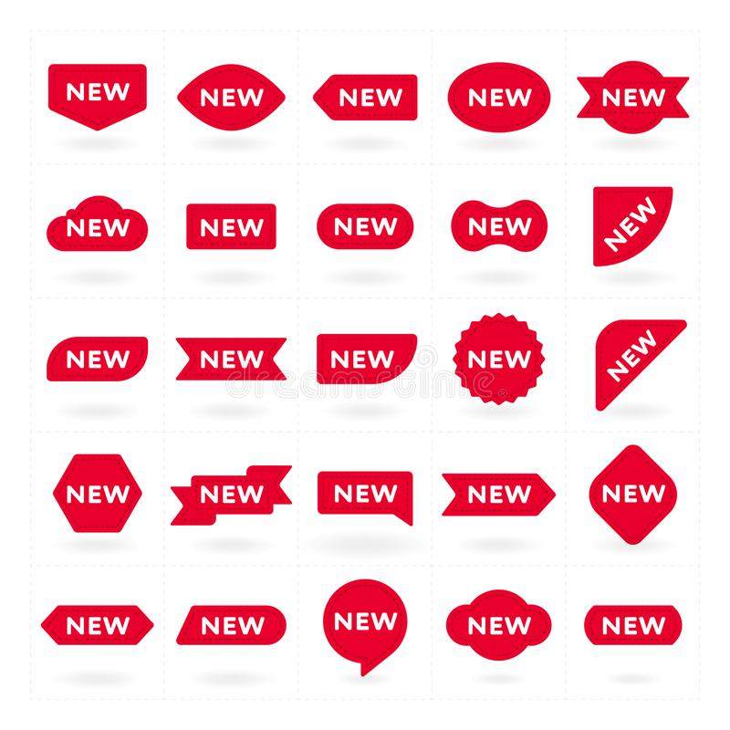 Nuova etichetta, simbolo per la campagna pubblicitaria illustrazione di stock