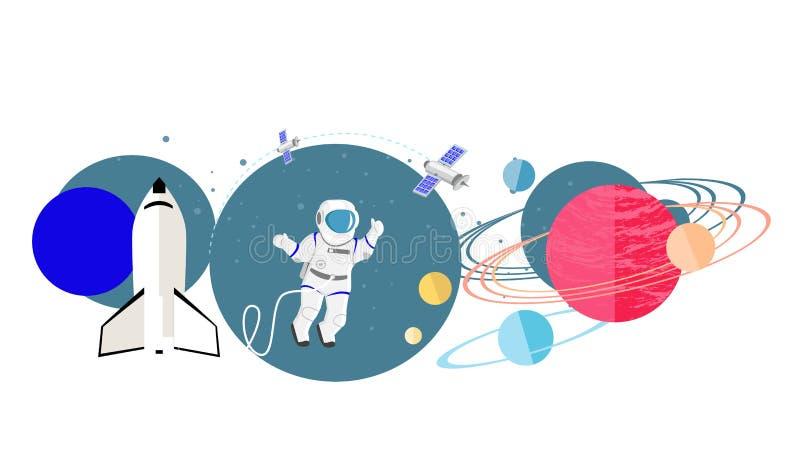Nuova icona dei pianeti di esplorazione piana illustrazione di stock