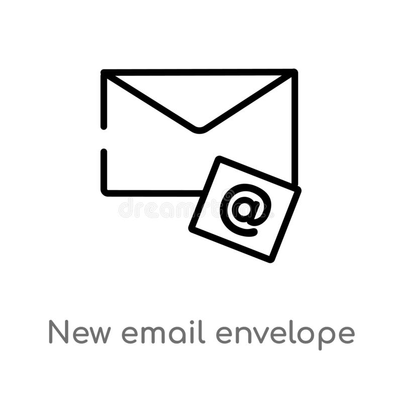 nuova icona di vettore della busta del email del profilo linea semplice nera isolata illustrazione dell'elemento dal concetto del royalty illustrazione gratis