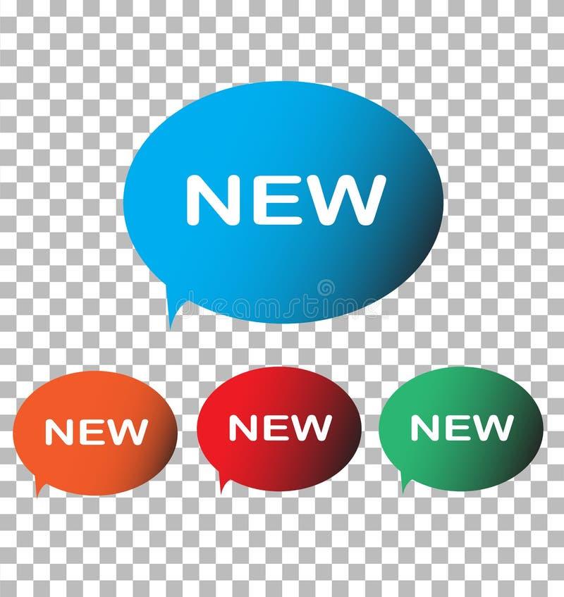 Nuova icona su fondo trasparente Nuovo contrassegno Stile piano royalty illustrazione gratis