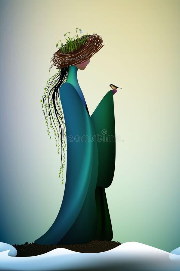 Nuova idea di sguardo della bella molla, nuova molla contemporanea, angelo fantastico della molla dell'icona di fantasia della mo illustrazione di stock
