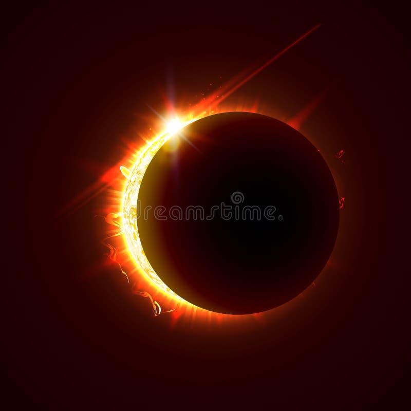 Nuova illustrazione di vettore di eclissi del sole, giorno di estate soleggiato luminoso 3d Metà dell'immagine realistica del sol royalty illustrazione gratis