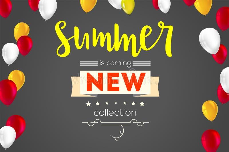 Nuova insegna della raccolta di estate Manifesto d'annata del testo di stile con gli elementi grafici e pilotare un gonfiabile, v royalty illustrazione gratis