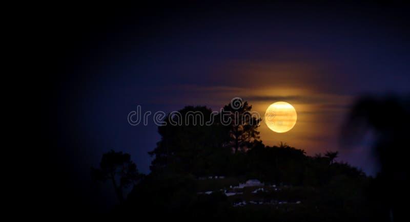Nuova luna piena su una notte nebbiosa immagini stock