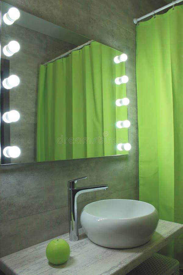 Nuova progettazione ecologica del bagno Toilette grigio chiaro e verde con lo specchio e lavandino e scaffali Bagno moderno e pro immagine stock libera da diritti
