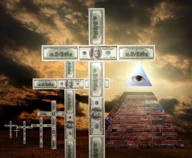 Nuova religione dei soldi di ordine mondiale fotografie stock libere da diritti
