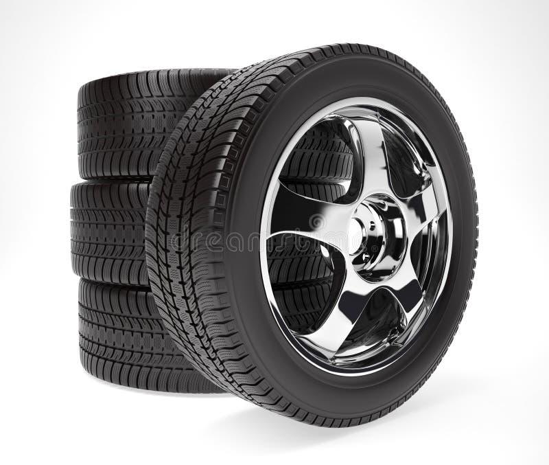 Nuova ruota di automobile con la gomma di inverno impilata su immagini stock