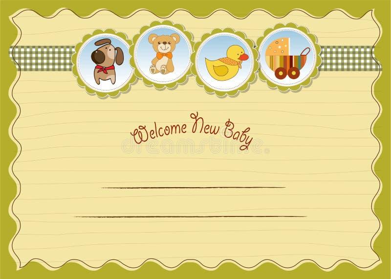 Nuova scheda di annuncio del bambino royalty illustrazione gratis